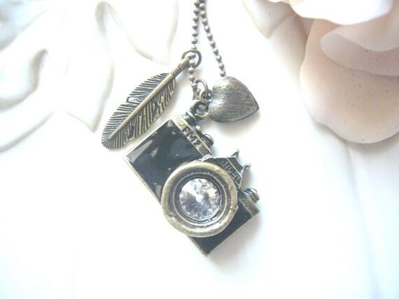 Vintage Brass Camera Necklace - capture the moment