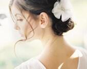 "Wedding Hair Flower Clip with Swarovski Crystal and silk petals ""Ella"""