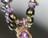 14k Amethyst and Pearl Beaded Necklace