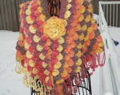 Ready to ship /GORGEOUS Shades of Winter Sunset / Fall Into Autumn/ Handmade Crochet Crocodile Stitch Pattern SCARF/SHAWL- All Seasons