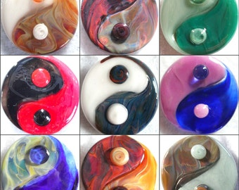 Yin Yang symbol hand blown glass custom necklace pendant