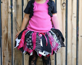 Fabric Scraps Tutu Skirt Black and White and Cute Allover MADE TO ORDER size Newborn to 4T