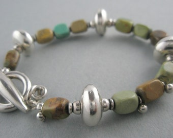 Stone Bracelet Using Green Turquoise and Sterling Silver Toggle Closure