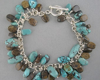 Turquoise and Brown Dangles on Sterling Silver Bracelet