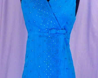 SALE Mini Dress 1960s Aqua Eyelet Lace