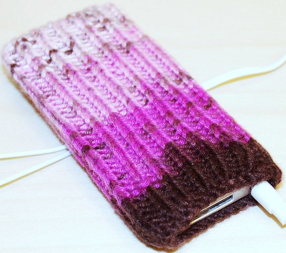 Chocolate Dipped Strawberry Hand Knit 7th Gen iPod Nano Cozy, Holder Sleeve Skin Pouch Pocket Sock Brown Pink Stripe Variegated Multi