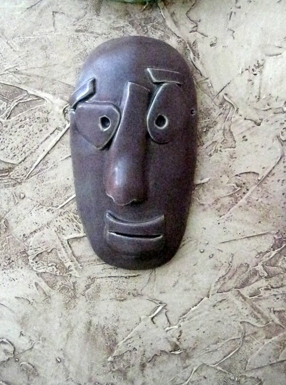 Abstract Man Ceramic Mask in Eggplant