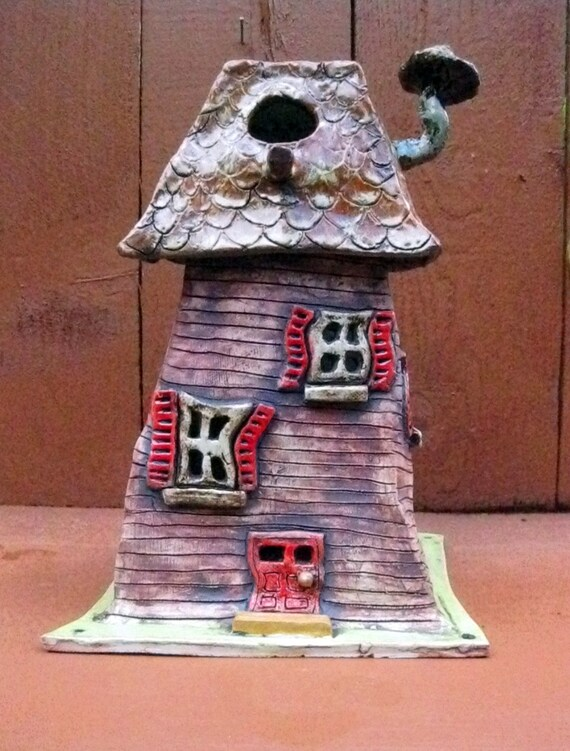 Reserved for karen funky ceramic bird house sculpture garden for Funky garden accessories