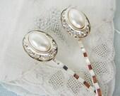 Bobby Pins, Vintage Hair Embellishment, Bridal, Oval Pearl, Rhinestone Hair Pin Wedding accessory