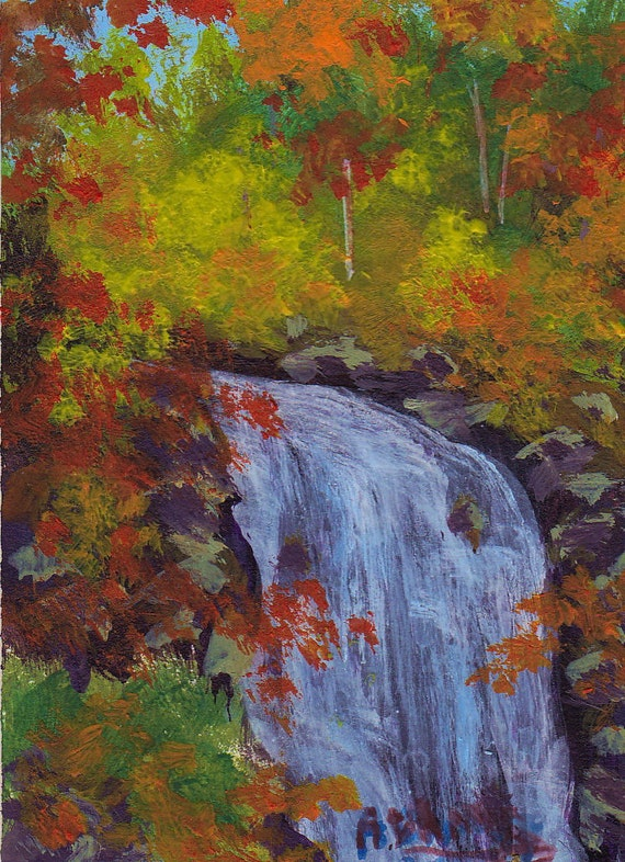 Original Acrylic ACEO Painting Autumn Leaf Colors Waterfall Blue Ridge Mountains Art