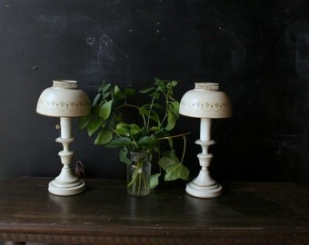 Lamps Matching Set White and Gold Metal 1960 or 70s Vintage from Nowvintage on Etsy