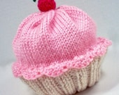 Cupcake Hat with Cherry on Top Vanilla Cream Cake Cotton Candy Frosting Hand made hand knit - baby toddler children adult 3 6 9 12 18 months