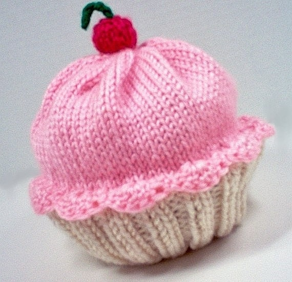 Free Doll Knitting Patterns Download : Cupcake Hat with Cherry on Top Vanilla Cream Cake Cotton Candy