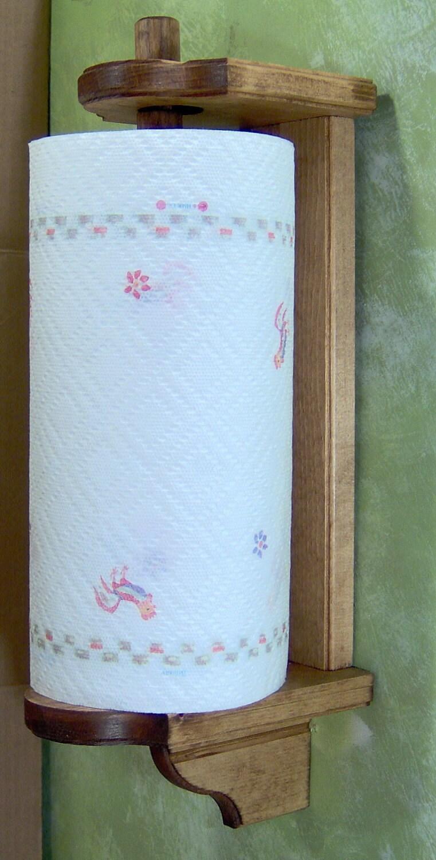 Early American Vertical Mount Wood Paper Towel Holder