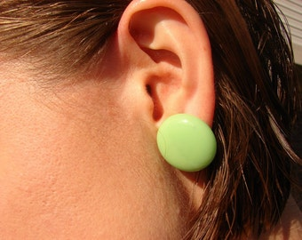 Vintage 50s Green Milk Glass Button Earrings Marked Japan
