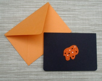 Halloween Card Orange and Black Circus Animal Mothers Cookies Frosted with Sprinkles Folded Note Cards