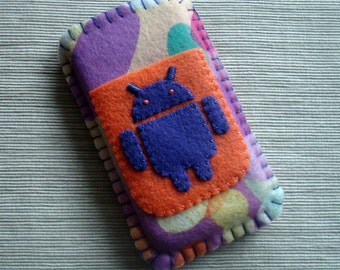 Android Phone Case with Mod Circles Pattern in Purple and Orange Felt LIMITED EDITION