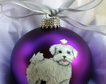 Maltese Puppy Cut Dog Hand Painted Christmas Ornament - Can Be Personalized with Name