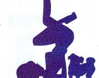 Pug and Pin Up Silhouette, Blue Glitter Vinyl Decal