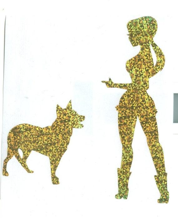 Queensland Heeler/Australian Cattle Dog and Cowgirl Pin Up Silhouette, Gold Glitter Vinyl Decal