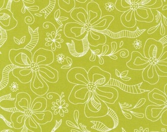 Chartreuse Flower fabric -- Daisies and Dot Collection by Pieces O'Cake Designs for Robert Kaufman