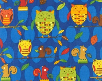 Animal Party Too -- Owls at Night -- Robert Kaufman Fabrics, by the yard, out of print, apparel fabric, quilt fabric, craft fabric, animals