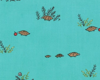 Little Apples Collection by Aneela Hoey:Novelty Tortoises Aqua for Moda