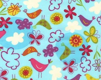 Amy Schimler's Fly Away in Sunrise for Robert Kaufman --Birds, blue background with pretty pink and orange birds, butterflies, and clouds
