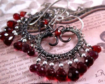 Silver Garnet Earrings Sterling Gemstone Scroll Drop Earrings