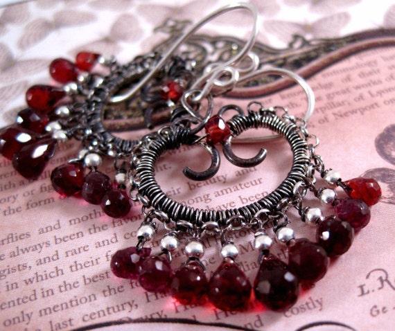 Silver Garnet Earrings Sterling Gemstone Scroll Drop Earrings
