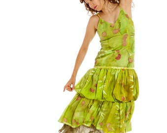 Hand painted silk dress/ Lime green dress/ Summer party dress with falling flowers/ Double layer silk dress/ Ruffles Dress/ Woman fashion