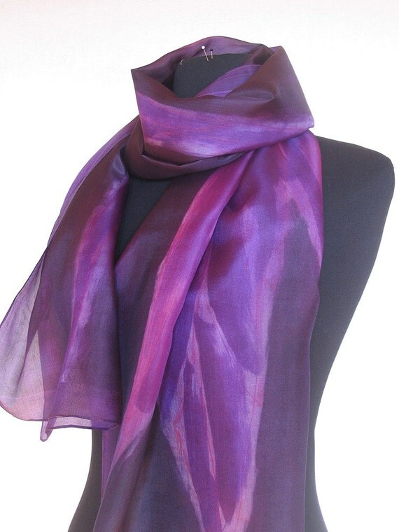 Purple violet scarf with abstract leafs. Long fashion scarf. Painting on silk by Dimo  OOAK Mothers day gift