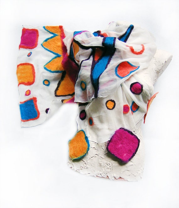 Nuno Felted silk chiffon scarf. Woman winter scarf. Geometric in bright colors  Made to ORDER