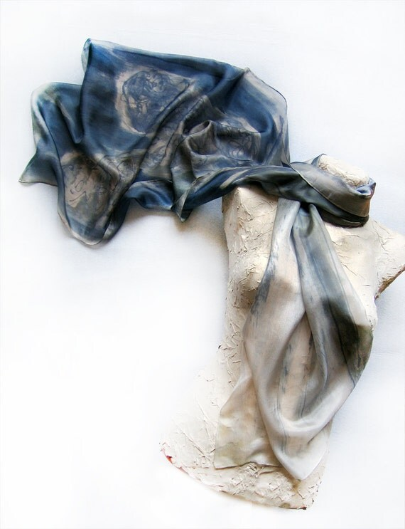 Silk scarf-Hand painted silk scarf Grey collection by Dimo-Old lavender grey flowers best gift for Mothers day OOAK