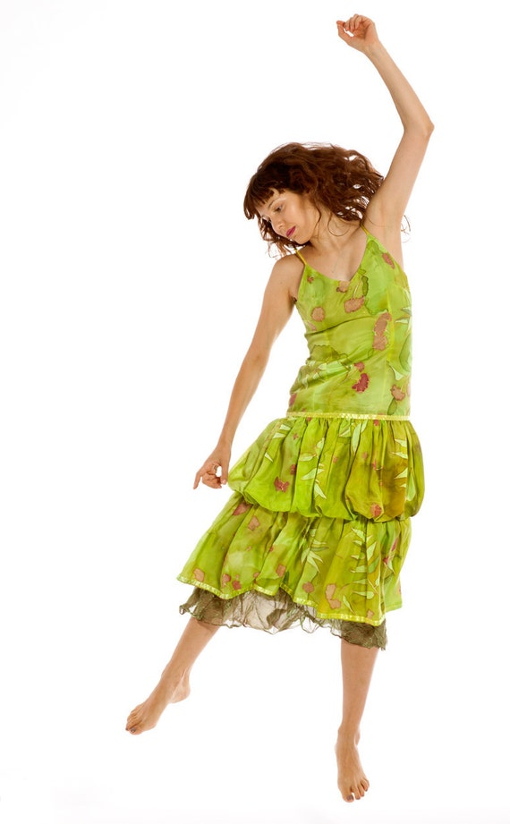 Hand painted silk dress Lime green handpainted silk dress Summer party dress with falling flowers Double layer silk dress Woman fashion