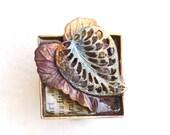 Adjustable Cocktail Ring Art Scholar Leaf Metal Copper Square Resin Leaves Nature Patina