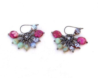 Multicolor Cluster Earrings Gemstone Hippie Wire Wrapped Summer Beach Fashion