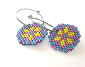Earrings - Purple Pang - Metallic Purple, Bright Yellow, Turquoise Green - Black Sterling Silver