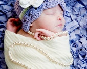 Baby Girl Hat with Double Flower - Light Violet Purple, White, Celery Green
