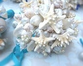 Beach Wedding Crisp Bridal Party / Bridesmaids Bouquet of Shells, Starfish Pearls (Onotoa Atoll Style) Made to Order Custom Details