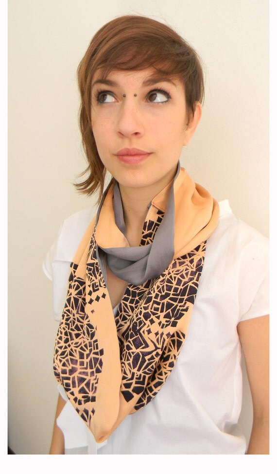 Infinity scarf in silk, geometric primitive print, bright colors orange pink, gray and purple
