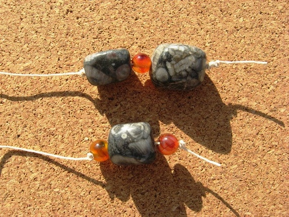 Hemp Cord Bookmark with Fossil Agate Gemstone Nuggets and Red Agate Beads