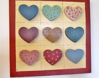 Wall Hanging / Wooden / FOLK ART HEARTS / Hand Crafted / Love / Anniversary Gift / Wedding Gift / Vintage