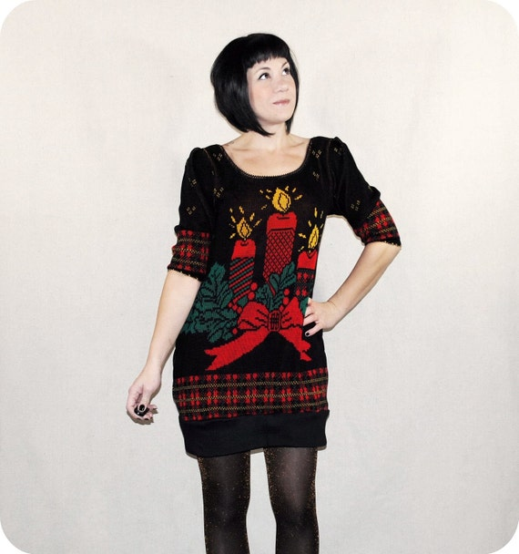 Ugly Christmas Sweater Dress - Red Black and Gold Metallic - Reconstructed Sweater Dress - Made to Order