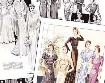 """PDF of 40s haute couture Parisian sewing pattern catalog - """"Perfection"""" - instant download"""