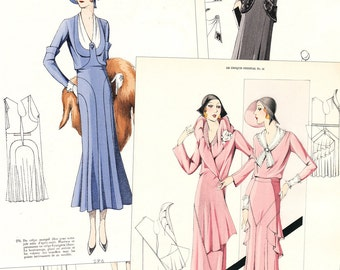 "PDF of 30s haute couture sewing pattern catalog - ""Croquis Original, 41"" Summer 1931"