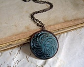 Glass Necklace Pendant  Stained Glass Jewelry Grey Blue