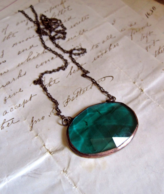 Blue Green Faceted Glass Necklace Teal Stained Glass Jewelry