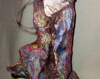 Art Doll, mixed media paper sculpture, paper sculpture, decoupage art, polymer clay sculpture