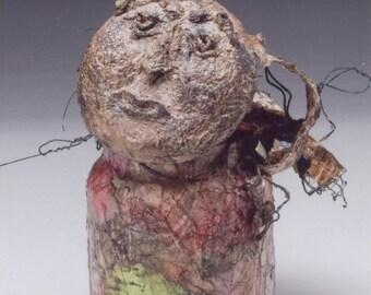 Art Doll Jar Lady, paper sculpture